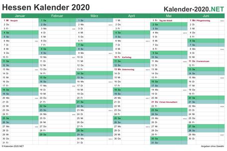 Vorschau Halbjahreskalender 2020 für EXCEL Hessen