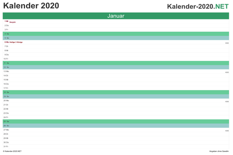 Preview monthly calendar 2020 for EXCEL Germany