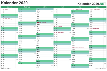 Preview of the 2020 half-year calendar for EXCEL Germany