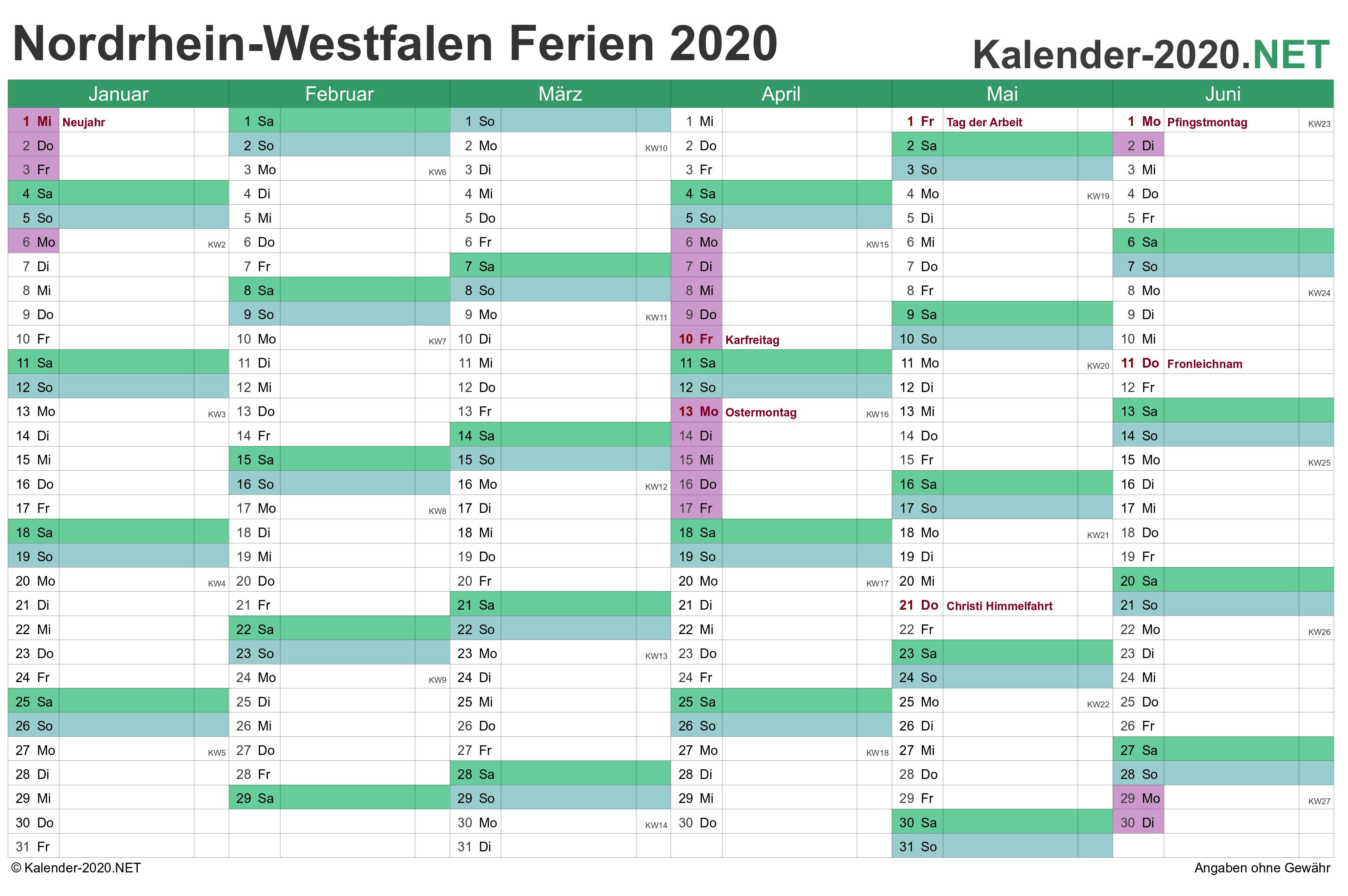 Ferien Nordrhein Westfalen 2020 Ferienkalender Ubersicht